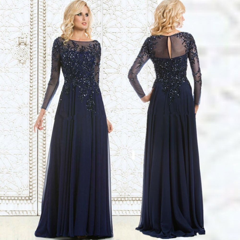 2016 navy blue evening dress mother of the bride dress for Navy evening dresses for weddings