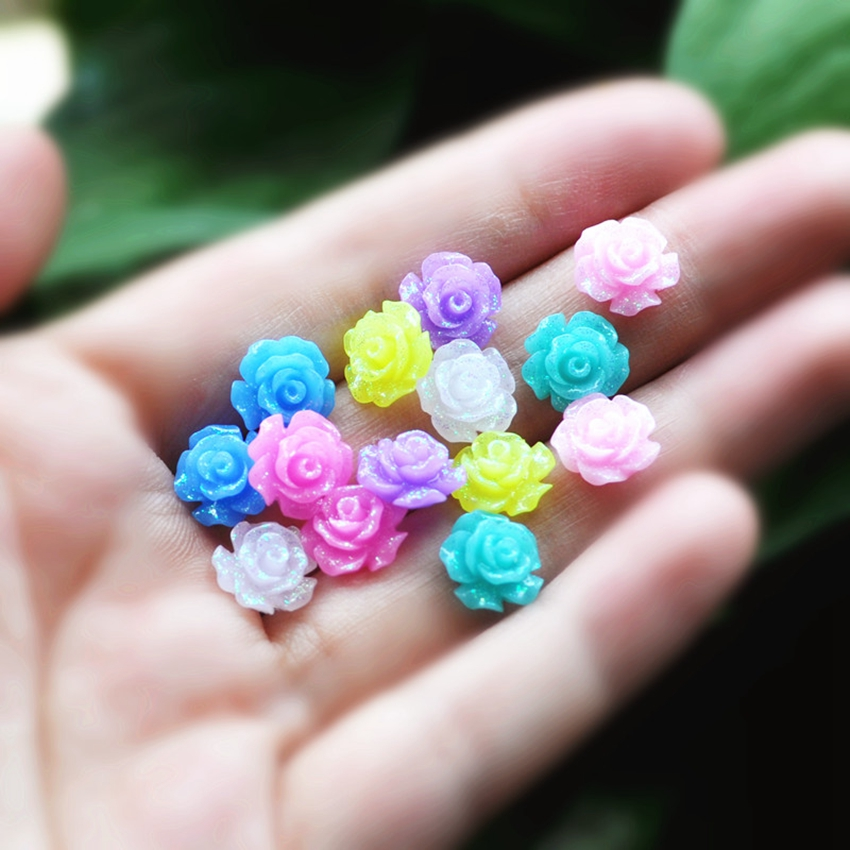 50pcs/Lot Mix Colors 10 Design Cabochons Botoes Flat Back Resin Rose Flowers For DIY Phone Decoration and Earring Accessory(China (Mainland))