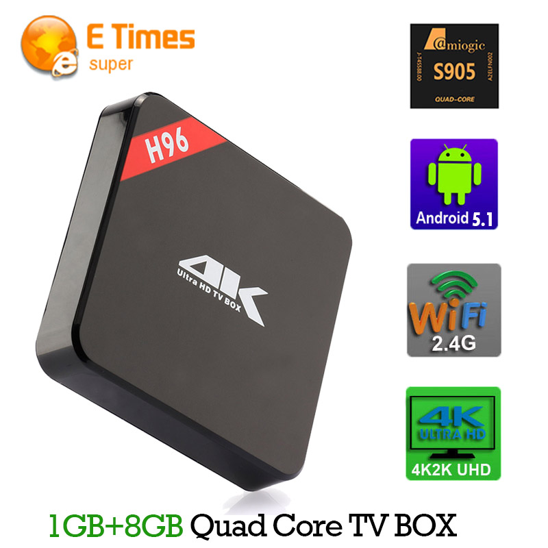 H96 64bits 4K HD Android 5.1 TV BOX Amlogic S905 Quad Core 1GB/8GB H.265 HDMI 2.0 Kodi Support youtube Facebook Skype video call(China (Mainland))