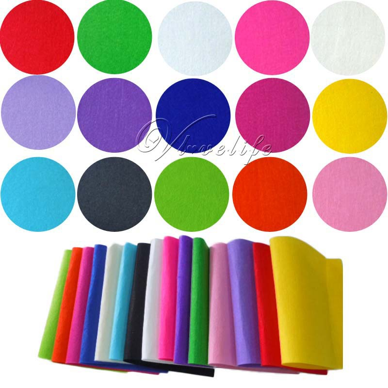 15pcs 20cm*30cm Felt Fabric Crafting Handicraft A4 Sheets 1mm thick Sewing Glue Scrapbooking DIY One Piece Of Each 15 Colours(China (Mainland))