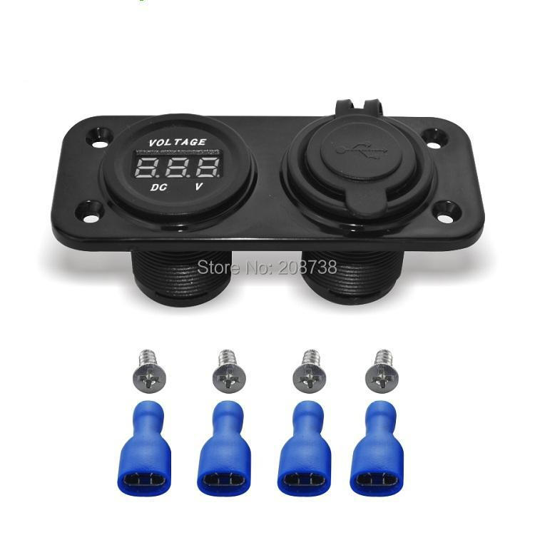 30PCS/LOT Dual Car Motorcycle Cigarette Lighter USB Power Socket with Voltmeter(China (Mainland))