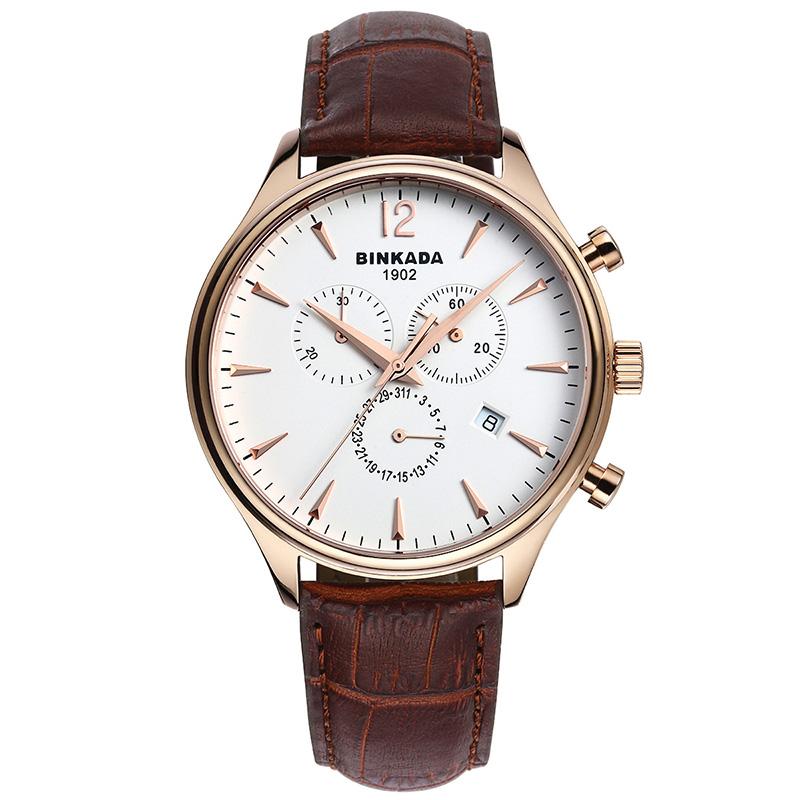 Free Ship,Free Ship BINKADA brown leather quartz watch waterproof watch male watch high-end rose gold watch(China (Mainland))