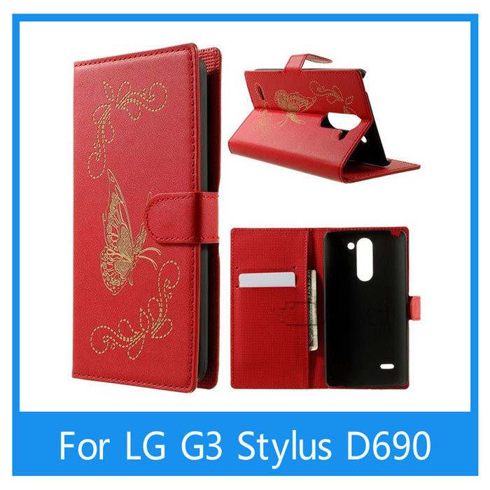 2015 New Luxury Laser Carving Butterfly Pattern Wallet Leather Case for LG G3 Stylus D690 With Stand&Card slots(China (Mainland))