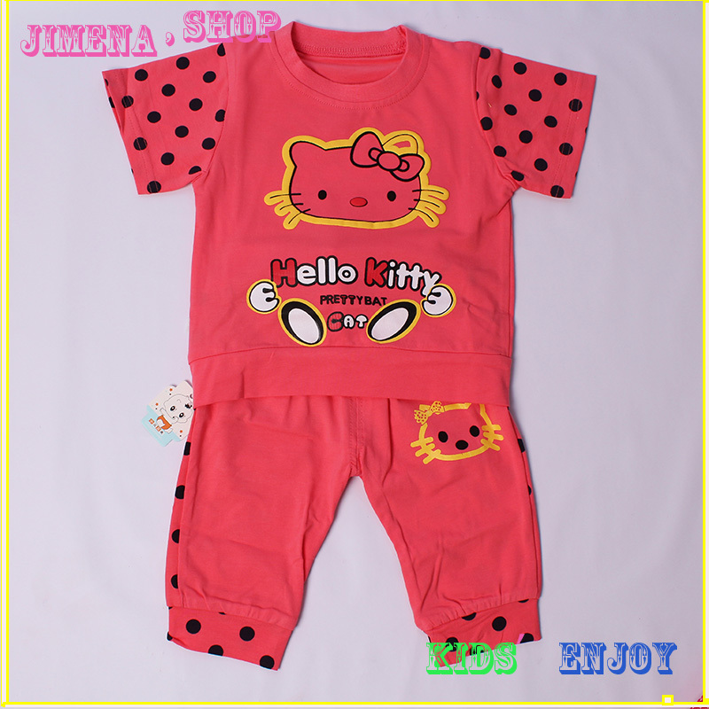 Retail & wholesale 100% cotton hello kitty baby girl clothes set 3 color 18 M 2 T 3T T-shirt pants(China (Mainland))