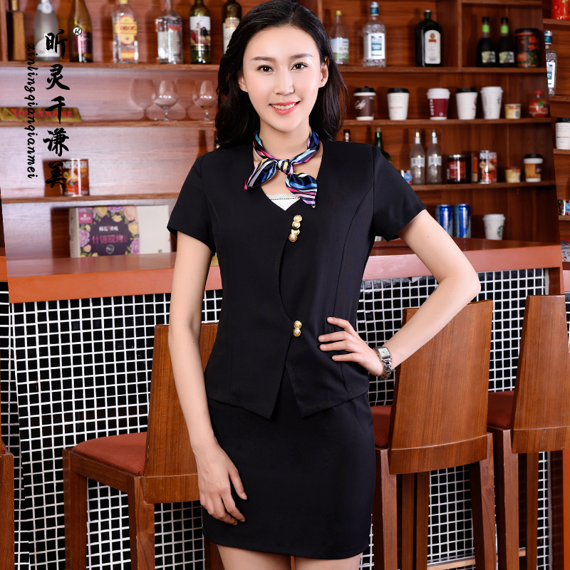 Hotel Reception Service Work Summer Female Beautician Foreman Manager Cashier Occupation Clothing Suit Airline Stewardess J171(China (Mainland))