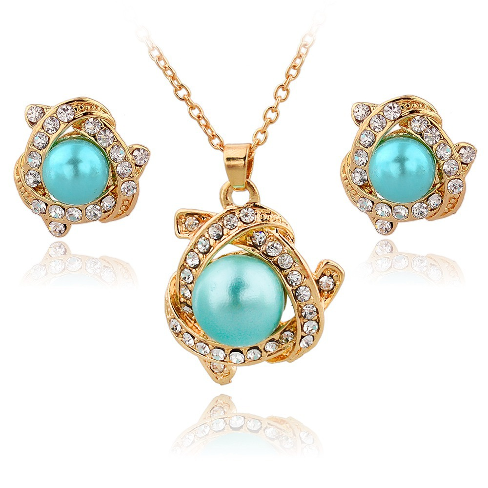 Famous brand luxury gold jewelry sets big pearl necklace for Diamond pearl jewelry sets
