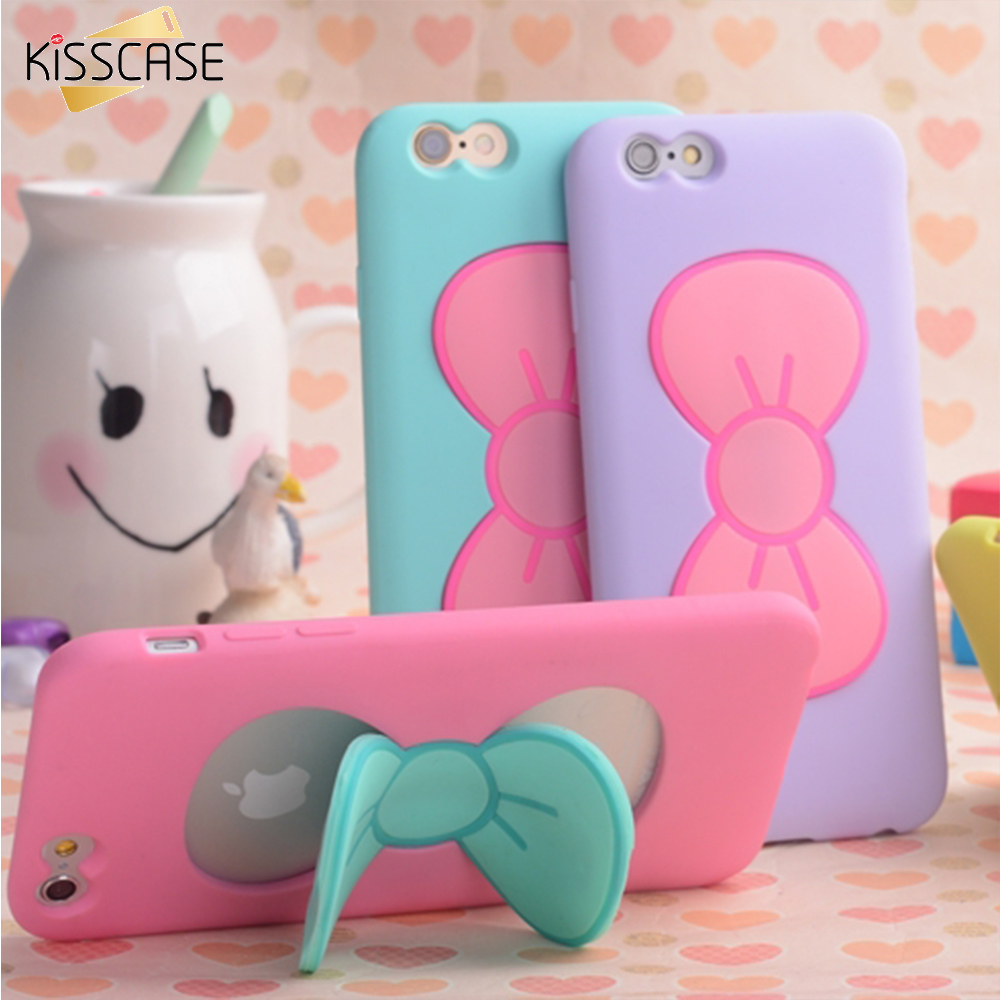 KISSCASE Case For iPhone 7 6S Plus Lovely 3D Bow-knot Soft Silicon Case For iPhone 6 6S 5 5S 4 4S Candy Color Stand Holder Cover(China (Mainland))