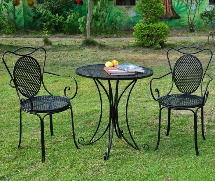 European style wrought iron tables and chairs outdoor for Small outdoor table and chairs