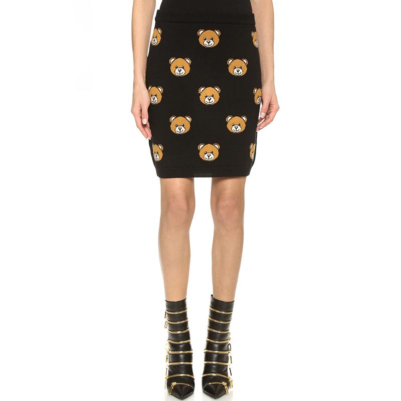 2016 Summer Women Short Pencil font b Skirts b font Casual Solid Black Bear Character font