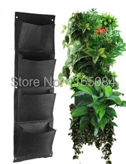 Novelty 4 Pockets Vertical Garden Planter Wall-mounted Polyester Home Gardening Flower Planting Bags Living Indoor Wall Planter(China (Mainland))