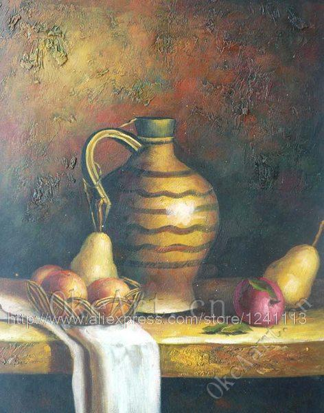 Hand Painted Oil Painting Still Life Fruit Painting Ceramics Pear Home Decoration Wall Art Wholesale(China (Mainland))