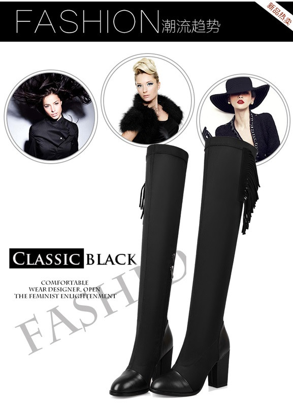 Natural leather 2016 latest comfort warmth Knee length boots Tassel side zipper Pointed Toe Thick with black large size Europe U