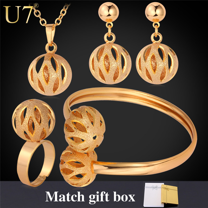 Unique Design Ball Pendant Set Wholesale 18K Real Gold Plated/Platinum Plated Trendy Party Bridal Jewelry Sets For Women S579