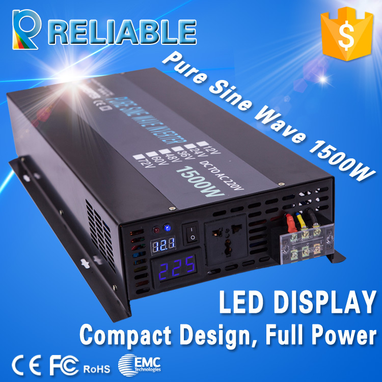 LED Display Reliable Solar Power Inverter 12V 220v 1500w Home Inverter 3000W Peak Battery Inverter Pure Sine Wave Inverter(China (Mainland))