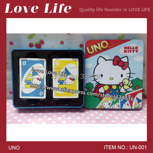 Free shipping!New 2014 Hello Kitty UNO card game playing card family fun friend's funny paper uno card WITH SHORT BOX UN-001(China (Mainland))