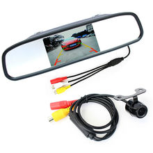 Auto parking assistance system 2 in 1 4.3 digital tft lcd a specchio parcheggio monitor + 170 gradi mini car rear view camera(China (Mainland))