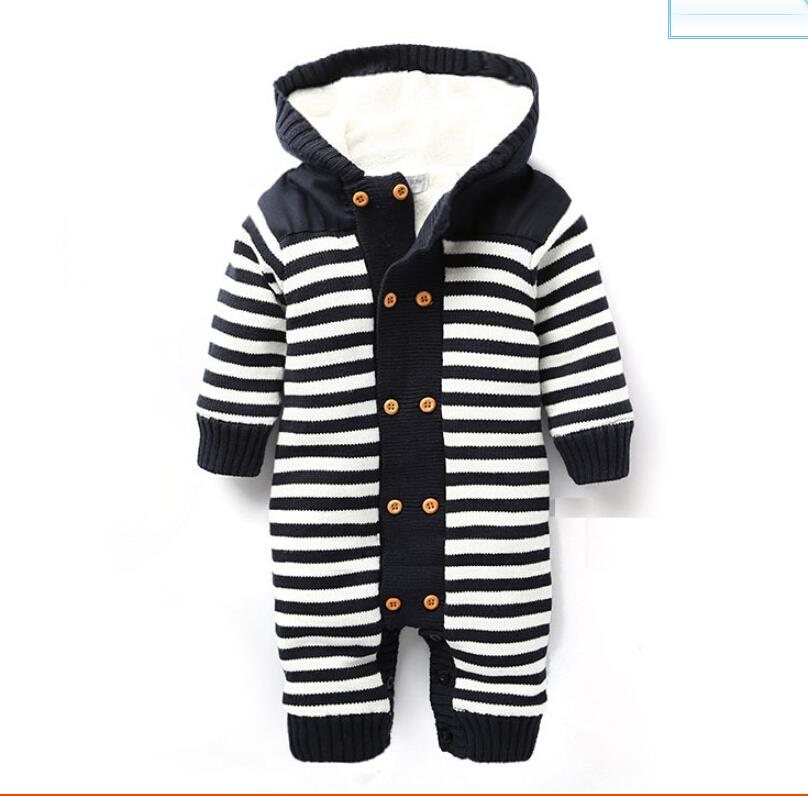 Retail Autumn and winter striped fleece baby thick bodysuits newborn clothing baby clothing free shipping(China (Mainland))