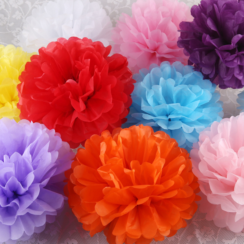 "Diy Multi Colour 4"" 6"" 8"" mixed Sizes 15pcs Paper Flowers Ball Wedding Home Birthday Party Car Decoration Tissue Paper Pom Poms(China (Mainland))"