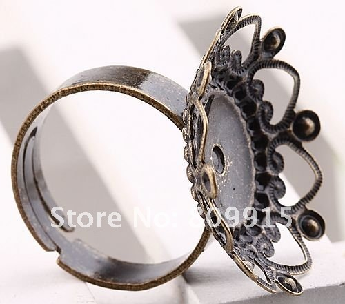 40pcs/lot Jubao Dish Antique Bronze Adjustable Retro Setting Ring Blank Finding BD137(China (Mainland))