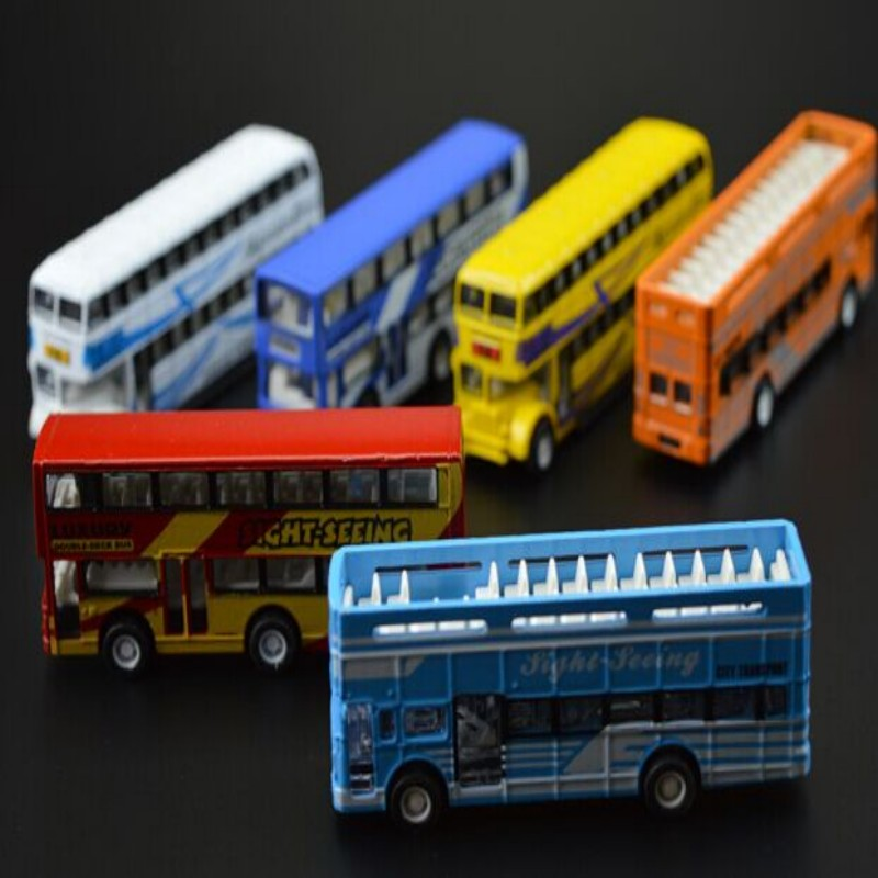 baby toy car model reality bus double decker pull back 7.5cm cool high performance electric kids toy child gift(China (Mainland))