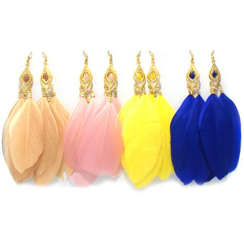 Серьги-гвоздики Feather Earrings Bohemian Long Earrings bohemian feather circle hook earrings