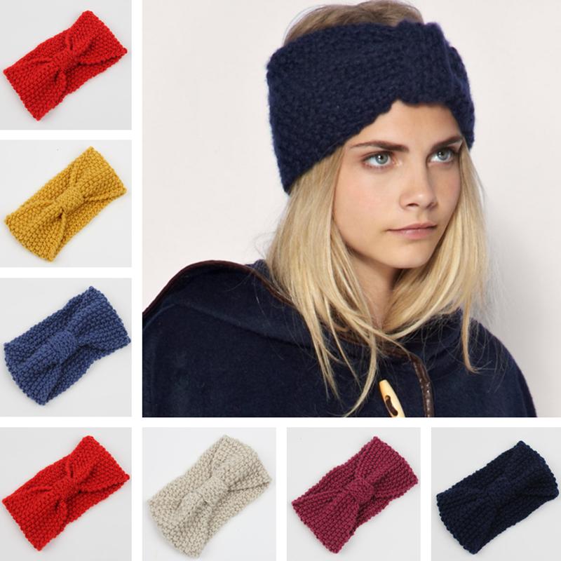 Winter Warm Crochet Knot Headband Knitting Hair Bows Wide Headbangs Hair Accessories HG257(China (Mainland))