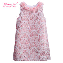 Pettigirl Vintage Girls Dress Girls Dresses Kids Party Clothing Pink Baby Clothes(China (Mainland))
