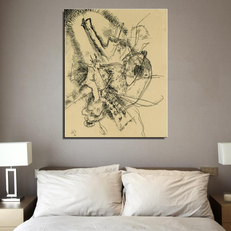 Graffiti DRAWING FOR ETCHING II Cartoon Abstract Wassily Kandinsky Spray Oil Painting Frameless Unframed Canvas Scarf(China (Mainland))