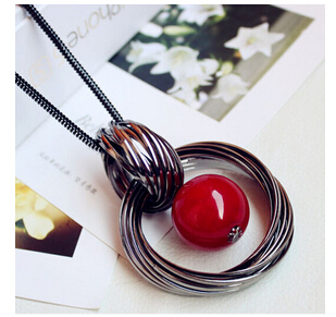 Fashion Tassel Pendant Leather Cord Necklace Sweater Chain Long Section Of Multilayer Red Ball Ornament Jewelry YN90(China (Mainland))