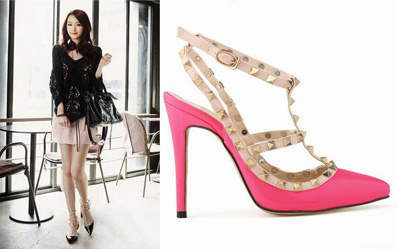 Hot Women Pumps Ladies Sexy Pointed Toe High Heels Fashion Buckle Studded Stiletto Heel Sandals Shoes  -  Elegant girl NO 1 store