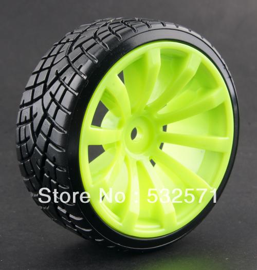 4pcs Hard Tyre & Green Wheel Rim Fit HSP HPI Tamiya Kyosho 1:10 RC Car Drift Tire 603-6013(China (Mainland))