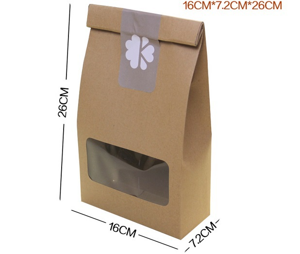 16*7.2*26cm Brown paper bags with window food bagCookie Packaging bags Gift bags100piecelot Free shipping(China (Mainland))