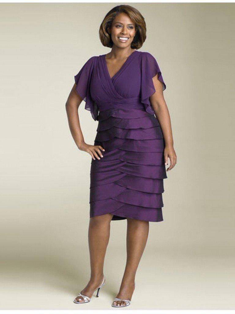 Custom short sleeves v neck evening dress layered purple for Purple dresses for weddings knee length