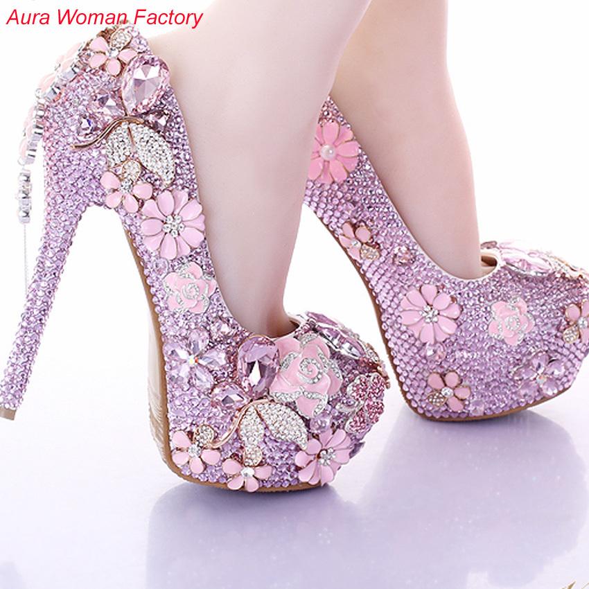 Здесь можно купить  2015 New Fashion Wedding Shoes Pink Flower Rhinestone High Heels Women