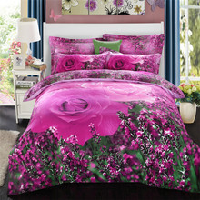 100% Brushed Cotton Bedding Set Full Queen King Size 3D Print Flower Comforter Set Duvet Cover Pillowcase 4pcs Bed Sets Spread(China (Mainland))