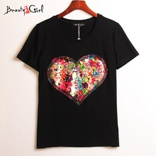 Buy 2 Colors Summer Hot T-shirt Women Sequined Love Heart Sequins T Shirt Women Tops Tee Shirt Femme Fashion Casual Woman Clothing for $10.83 in AliExpress store