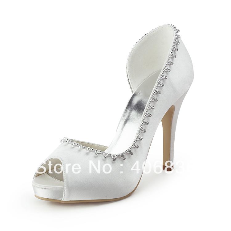 Free Shipping White Peep Toe Platform Bridal Evening Pumps Cone Heel Rhinestones Satin Women