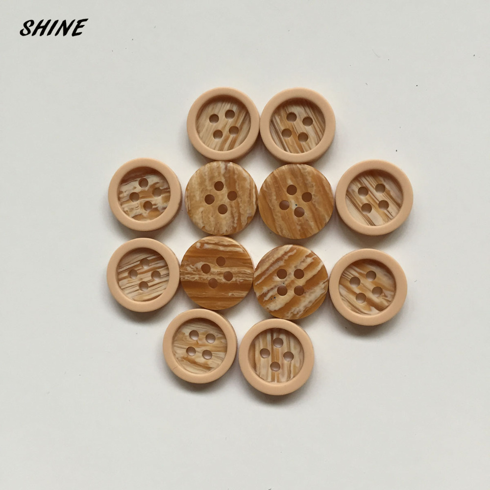 Resin Sewing Button Scrapbooking Round Faux-Wooden Four Holes Pattern 11.5mm Dia. 20 PCs Costura Botones Decorate 2016(China (Mainland))