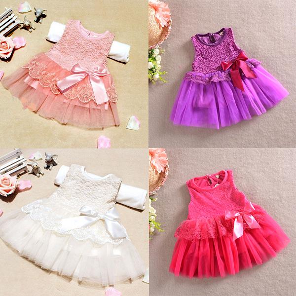 Девочки-младенцы цельный официальный платье кружево цветок бант дутый ну вечеринку платье возраст 0-3YFree