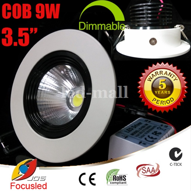 Dimmable 3.5 inch 9W 900LM CREE COB LED Downlights CRI>88 Power Supply Tiltable Fixture Recessed Ceiling Down Lights Lamps CSA(China (Mainland))