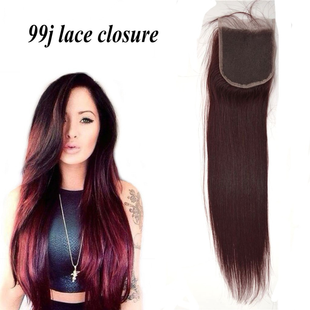 8A Red Virgin Hair Lace Closure 4x4 Indian Straight 99j Closure,Indian Hair Closure With Bleached Knot Free Middle 3 Part<br><br>Aliexpress