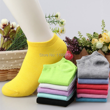 20pcs=10pairs/lot women cotton socks summer cute candy color boat socks for woman ankle sock solid color thin sock slippers s04(China (Mainland))