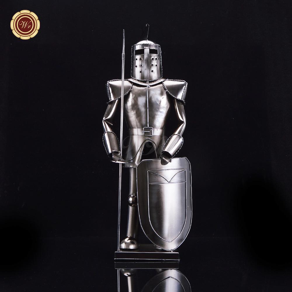 Ornamental bottles - Wr Metal Mini Statue Wine Stand Ornamental Iron Art Roman Solider Figurine Bottle Holder Bar Utensil Decoration Craft