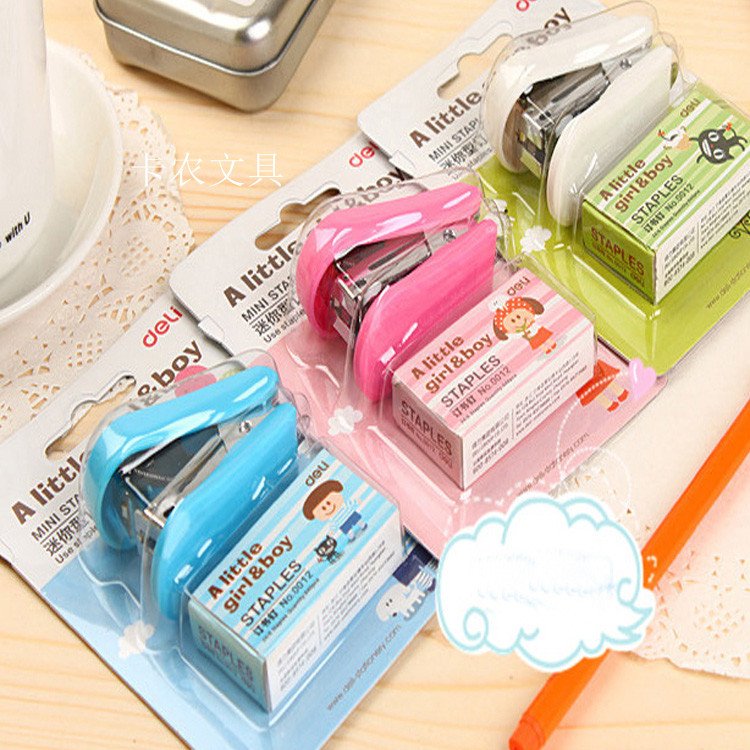 3 pcs/lot Cartoon Mini stapler kawaii stapler set paper punch Hand puncher with staples office scool supplies free shipping 2402(China (Mainland))