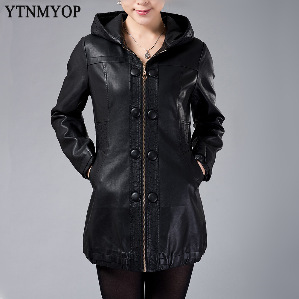 High Quality Black Hooded Leather Jacket-Buy Cheap Black Hooded ...