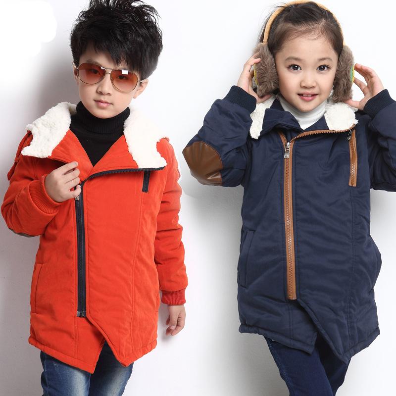 YRF55 Kids baby winter outerwear 2015 new winter thick velvet coat oblique zipper Hooded padded jacket girls winter jacket(China (Mainland))
