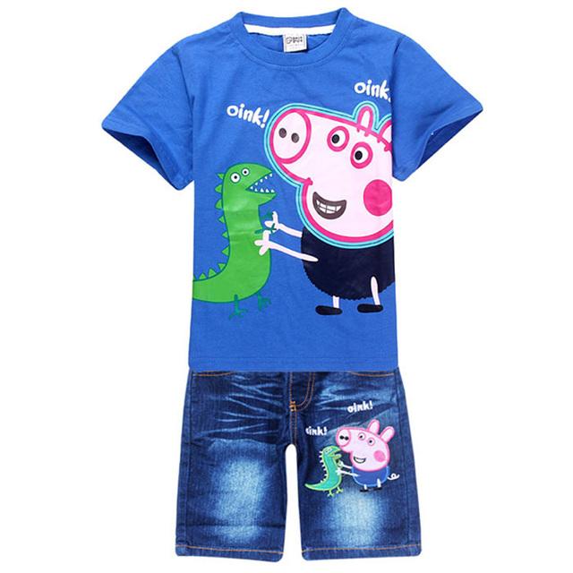 2016 мода детский мультфильм Peppa Pig свободного покроя комплект одежды мальчиков летом хлопок классика twinset футболка + джинсовые брюки для 2-8Y