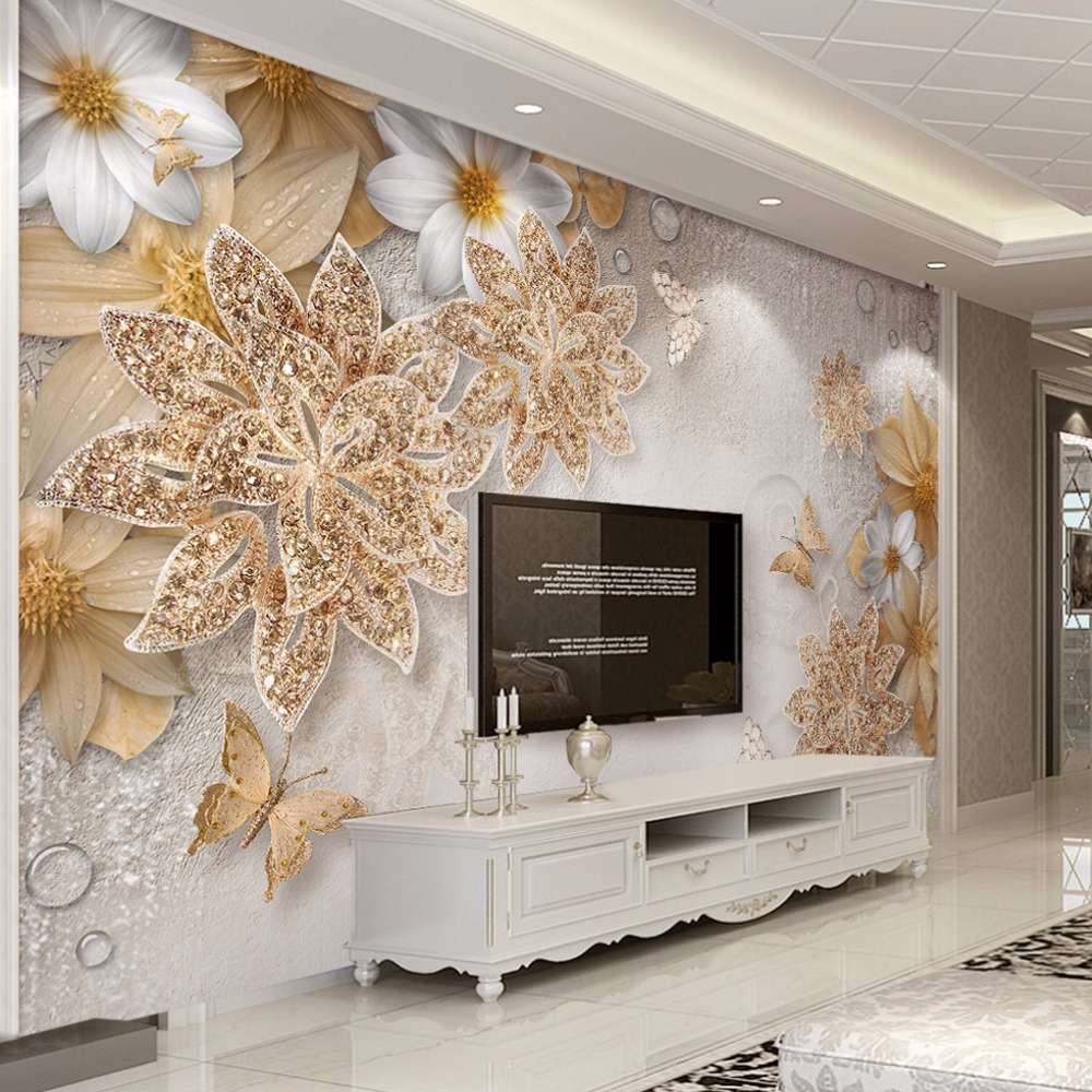 online get cheap wall papers gold com alibaba group custom mural for bedroom walls 3d luxury gold jewelry flower butterfly background wall papers home