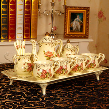 European England Luxury Hand Painted Red And Gold Rose Flower Ivory Porcelain Ceramic Coffee Set Tea Set For Wedding