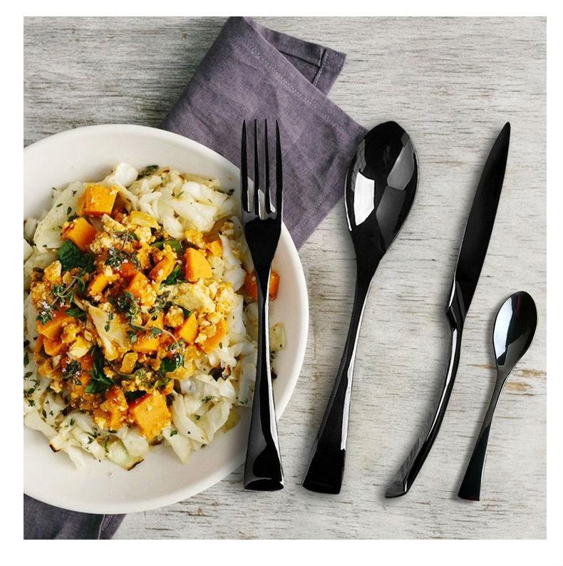 Buy Wholesale Black Cutlery Set Stainless Steel Flatware Western Food Tableware Sets Fork Steak Knife Spoon Tea Spoon Dinnerware Set cheap